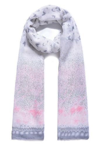 Pretty Pink and Grey Butterfly Pashmina Scarf Wrap Sarong New Season SS17