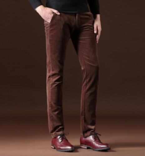 Men/'s Warm Velvet straight long Casual Pantalon Ample Hiver Business Pantalon Taille