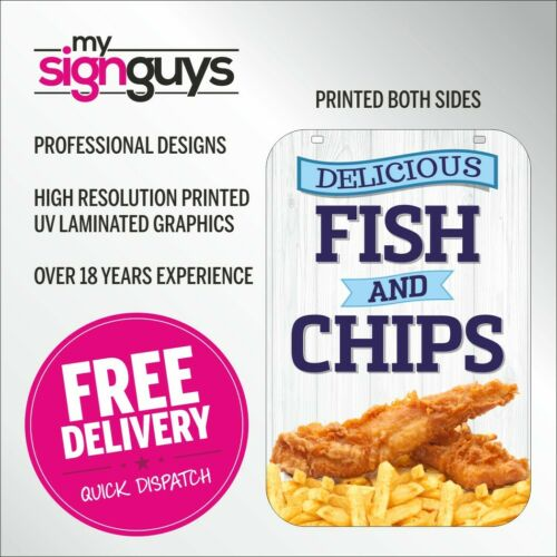 Fish /& Chips Aboard Pavement Sign Cafe Catering Trailer Swinger 2