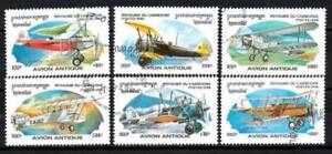 Aviones-Camboya-42-serie-completo-de-6-sellos-matasellados