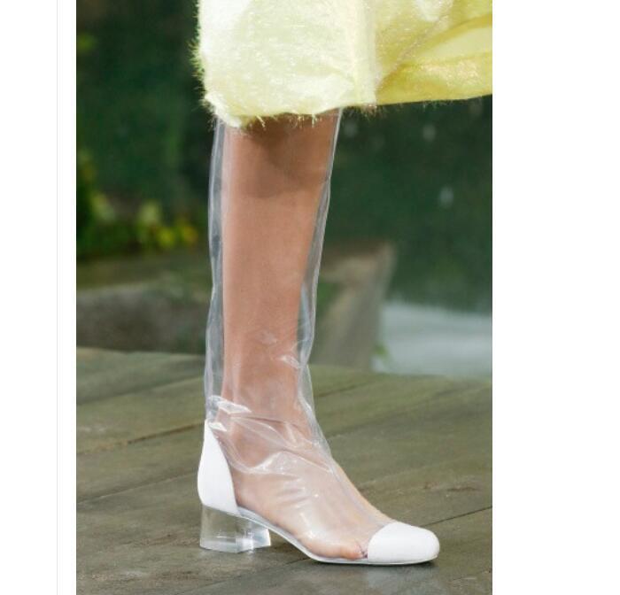 Overkneestiefel Damen Sexy Sommer Stiefel Transparent Transparent Transparent Stiefel Blockabsatz Gr 34-48  | Vollständige Spezifikation  b53131