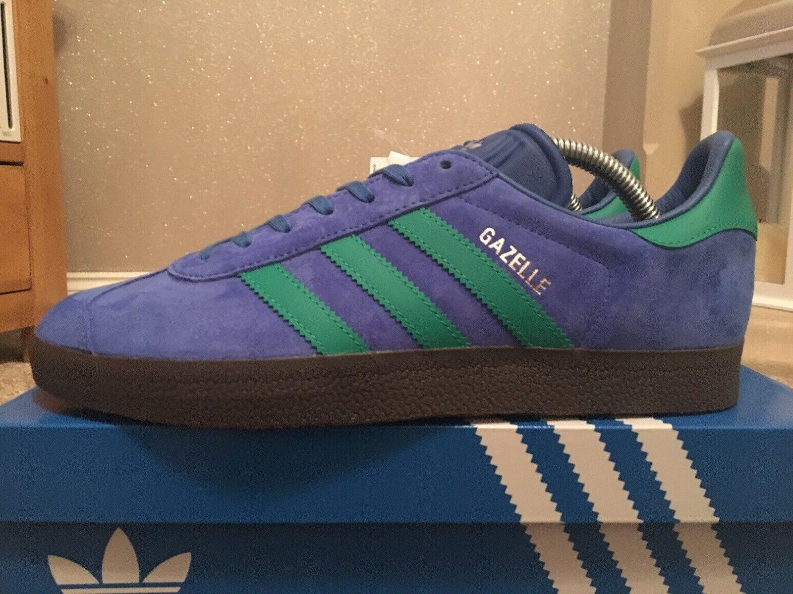 Retro Adidas Gazelle bleu vert gomme MALMO SUEDE 80 S Football Casuals Taille 8 Entièrement neuf dans sa boîte