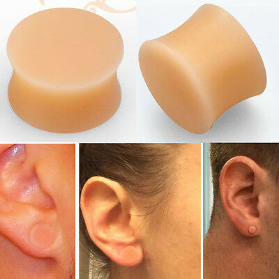 Pair Double Flare Solid Orange Silicone Plug Retainer Ear Gauge Earlobe 8g-5/8""