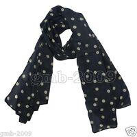 New Fashion Women's Black White Polka Dot Chiffon Long Soft Silk Stole Scarf