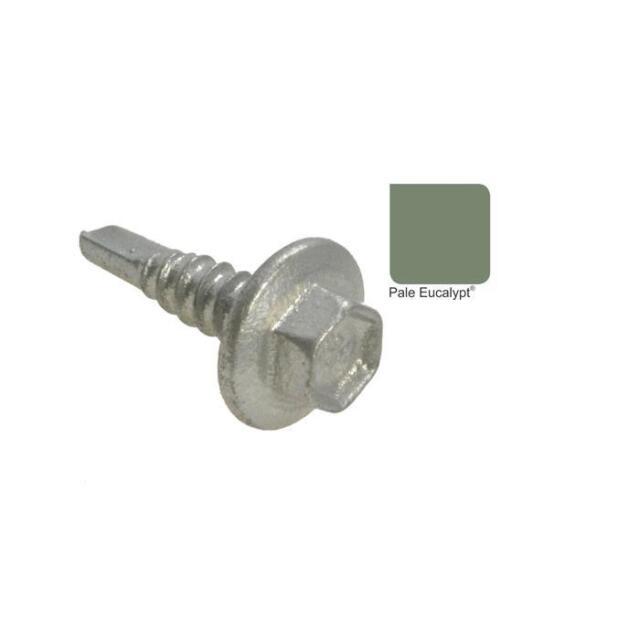 Qty 50 Hex Metal 12g-14 x 20mm PALE EUCALYPT MIST GREEN Colorbond Tek Screw