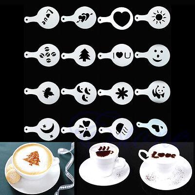 16Pcs Creative Coffee Mood Barista Stencils Template Strew Pad Duster Spray Art