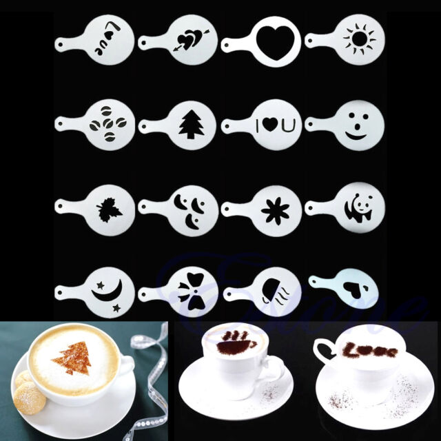 16Pcs Creative Coffee Mood Barista Stencils Template Strew Pad Duster Spray Art