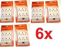 6 Outlet Wall Tap Ul Listed Grounded Plug Adapter Lots 1x 2x 4x Or 6x Qty