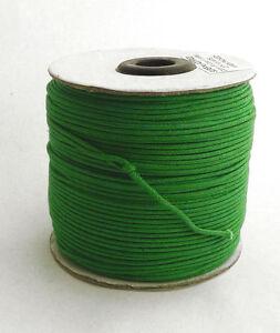 100m-Baumwollband-0-13-1m-gruen-1-5-mm-rund-poliert-gewachst-Rolle-Spule
