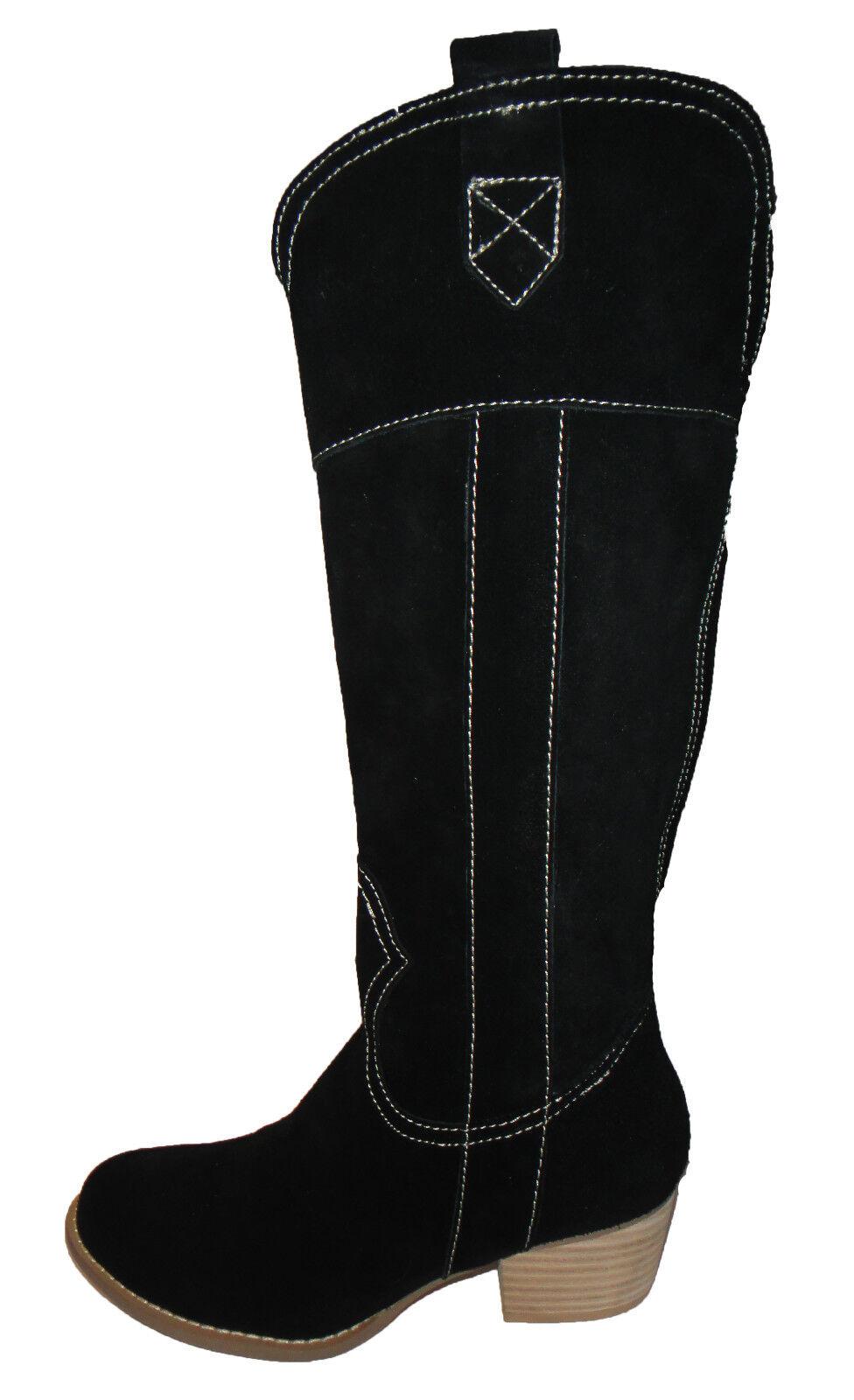 acquista online oggi Topshop NERI IN PELLE SCAMOSCIATA BIANCO CUCITURE CUCITURE CUCITURE midcalf Kitsch Stivali Cowboy Western 5 38  sport caldi