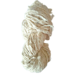 100-Grams-Handmade-Recycled-Sari-Silk-Yarn-Knit-Woven-1-Skein-White-Diwali