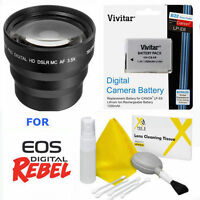 Sport Telephoto Zoom Lens 3.5x + Lp-e8 Lpe8 Battery For Canon Eos Rebel T3i T5i