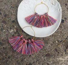 Anthropologie Multi Pink Red Purple Tassel Fringe Gold Plated Hoop Chic Earrings
