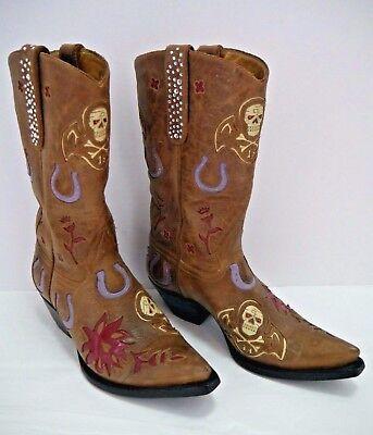 8e213fa848b LIBERTY brown leather cowboy boots horseshoe skull rhinestones size 7 WORN  TWICE   eBay