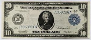 1914 $10 Federal Reserve Large Note Philadelphia VF FR# 915c
