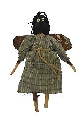 """Cooperative Primitive Folk Art Hand Made Black Angel Doll Metal Wings One Of A Kind 11.5"""""""
