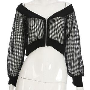 Sexy-Jacket-Tops-Coat-Long-Sleeve-Crop-Mesh-Net-Black-Net-sexy-net-Women-girl