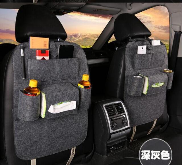 Car Seat Back Receive Bag Storage  Holder Multi Pocket Organizer Bag Holder Gray