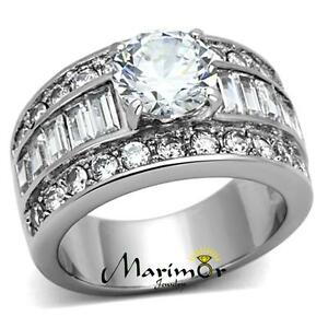 485 CT ROUND CUT ZIRCONIA STAINLESS STEEL WIDE BAND ENGAGEMENT RING