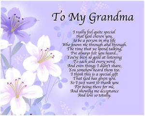 Personalised To My Grandma Poem Mothers Day Birthday Christmas Gift