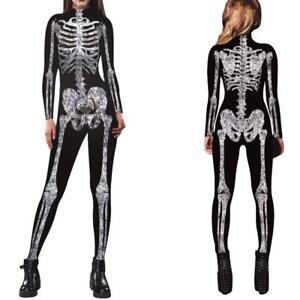 8ce0f03116 Image is loading Women-Skeleton-Bone-Frame-Jumpsuit-Bodysuit-Fancy-Dead-