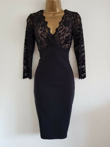 NEW Ex DP 8-18 Black Nude Lace Bodycon Pencil Dress Party Occasion Wedding