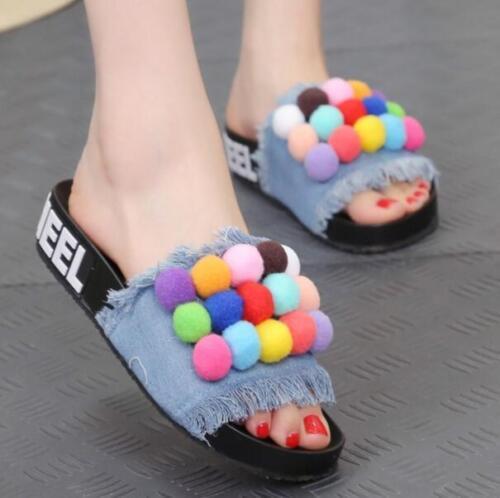 HOT Womens Sandal POMPOM Chic Denim Peep Toe Platform Flat Heels Slippers Shoes