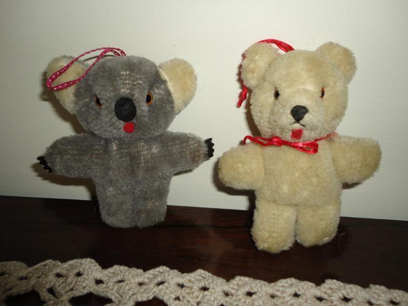 Antique KOALA & TEDDY BEAR Lot Tongue Bears Glass Eyes Shanghai Bear Company