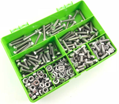 475 ASSORTED PIECE A2 M6 FULLY THREADED BOLTS NUTS WASHERS SCREWS STAINLESS KIT