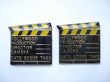 VINTAGE HOLLYWOOD CLAPPER BOARD PLAY FILM MOVIE CINEMA ENAMEL PIN BADGE X2 99p