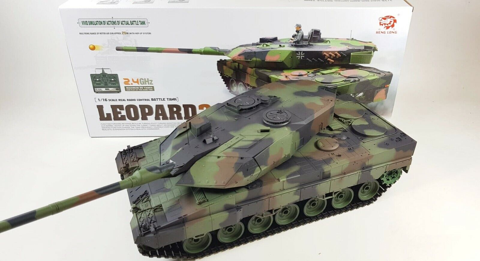 V6 2.4G RC 1 16 Heng  lunga Leopard 2A6 Airsoft SERBATOIO FUMARE telecouomodo SERBATOIO  sport caldi