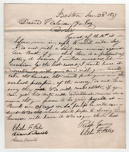 1837 Général David Robinson Bennington Vermont Lettre Boston Massachusetts Masse mogv7P8w-09152905-641890227