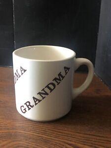 Vintage-Grandma-Cup-Coffee-Mug-Made-In-USA-says-GRANDMA-In-Brown-On-White