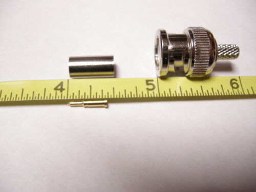 BNC male plug straight crimp RG58  RF Coax Adapter 50PK