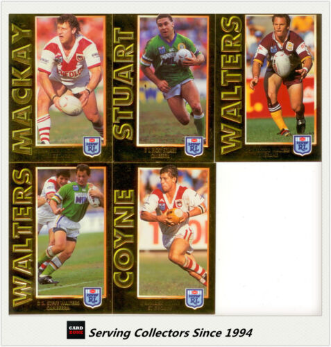 5 1994 Dynamic Rugby League Series 1 Embossed Gold Cards Full Set