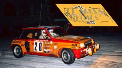 Calcas Renault 5 Turbo Rallye MonteCarlo 1981 20 Slot decals Saby