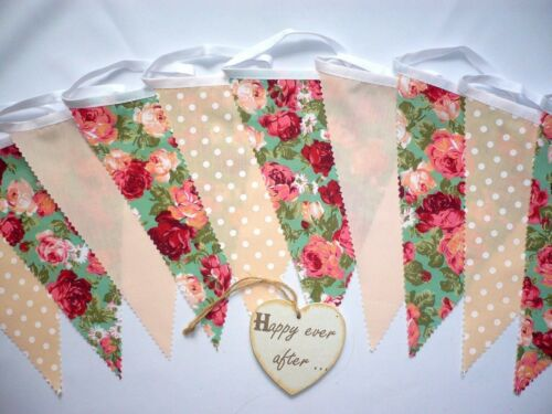 Alice Details about  /Fabric Bunting Peach Green Floral Wedding Celebration Party Decor 3m
