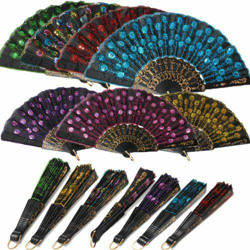 9'' Chinese Japanese Fan Hand Held Embroidered Nylon Made Oriental Carved Gift