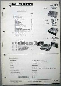 Philips AG 1016 4116 NG 1316/17 Plattenspieler Service Manual Ausg. 3/62