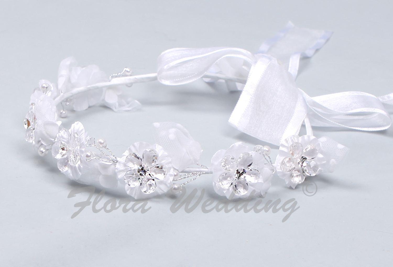 White Girl Bridesmaid Headdress/Communion Garland Headpiece/Halo Circlet Wreath