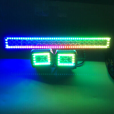 """2x 4/"""" Inch 4D LED Work Light Spot Fog Pods RGB Halo Ring Chasing Control Wiring"""