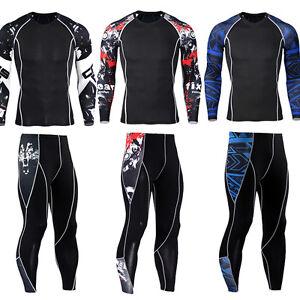 Mens-Athletic-Workout-Set-Gym-Skin-Compression-Outfits-T-shirts-Long-Pants-Black