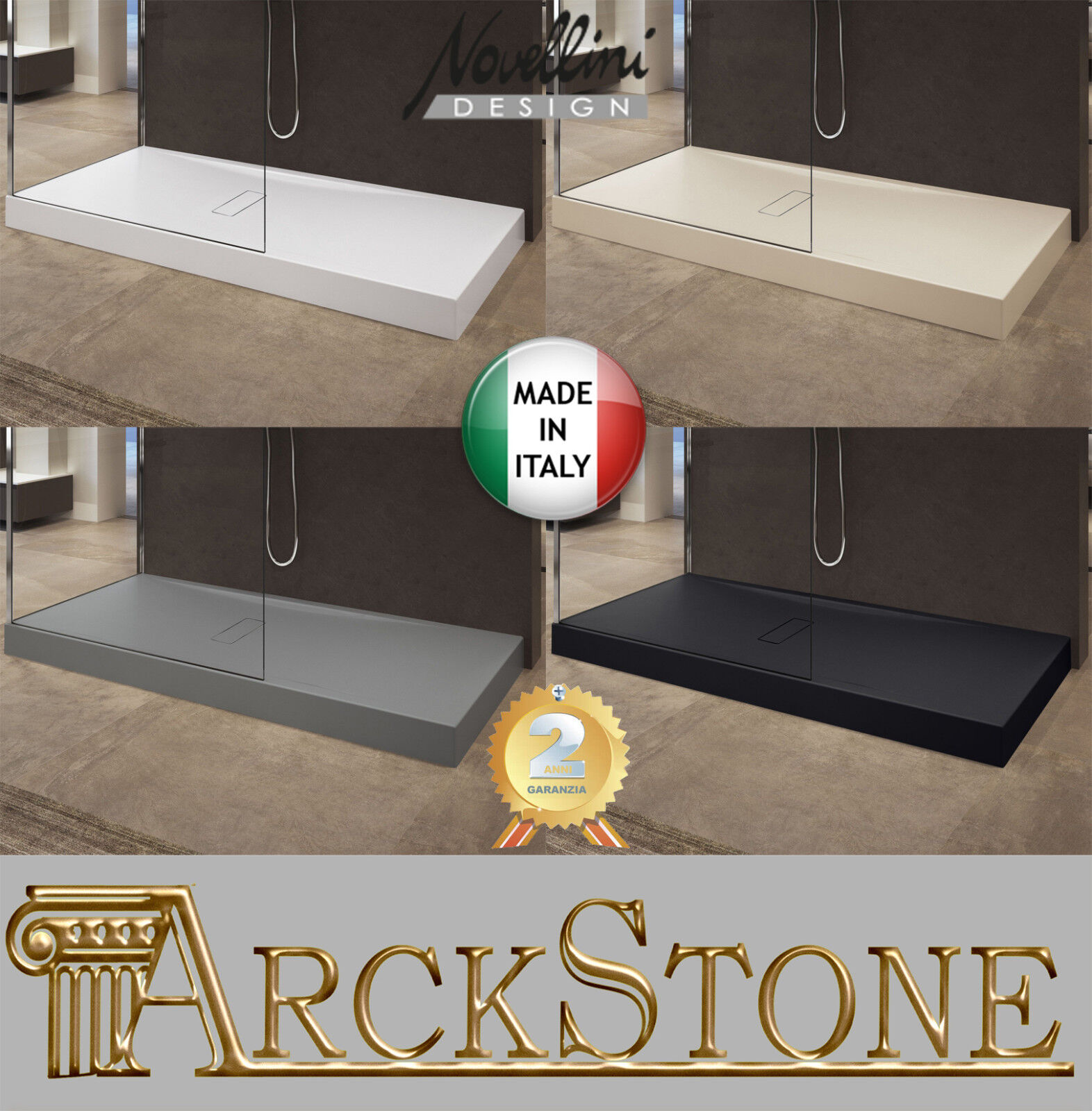 ARCKSTONE ArRouge o Box Piatto Doccia Box o Filo Ultrapiatto Slim Bagno Novellini Custom 38d45f