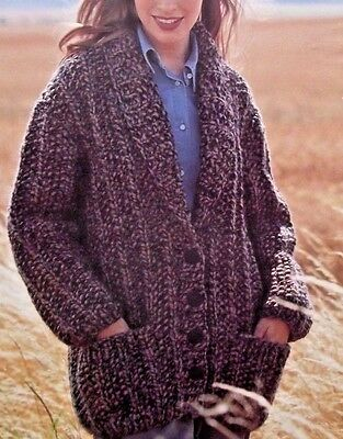 "42/"" KNITTING PATTERN LADIES SUPER CHUNKY RIBBED CARDIGAN IN 4 SIZES 28/"""