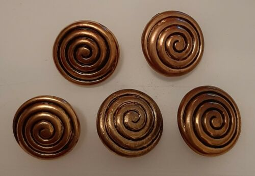 5 x 18mm large Gold Coil Effect Feature Round Metal Shank Buttons LX902