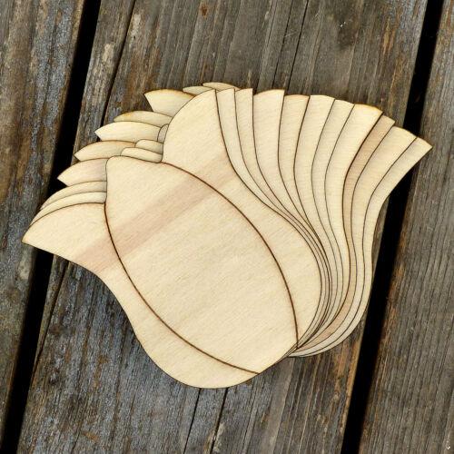 10x en bois tulipe head craft shapes 3mm plaqué fleur