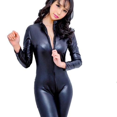 Women's Latex Wet Look Jumpsuit Leather-Catsuit Close-fitting bodysuit Romp *