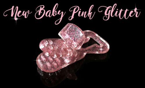 Plastic Dummy Clips Multiple quantities available Sparkly Baby Pink Glitter