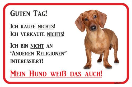 Dackel rot Schild Vorsicht - Wir kaufen nichts - 15x20 - 40x60cm Teckel Hund