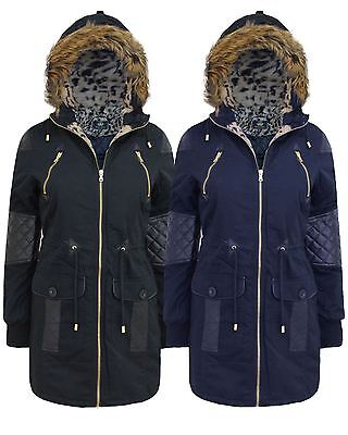 LADIES WOMEN BRAVE SOUL FAUX FUR HOOD PU PVC COATING LONG PARKA COAT JACKET 8-16
